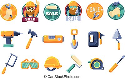 Cartoon icons set with tools for hardware store. Collection of working instruments. Round badges for sale with text and worker in helmet. Colorful flat vector design