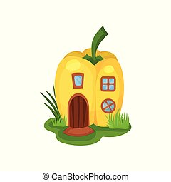 Cartoon ifantasy house in shape of yellow pepper. Home with...