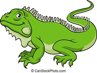 An illustration of a happy green cartoon Iguana lizard