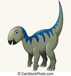 Cartoon Iguanodon White Background