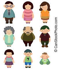 cartoon, ikon, familie