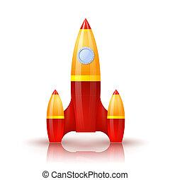 cartoon., il, vektor, yellow-red, schatten, reflexion., rakete