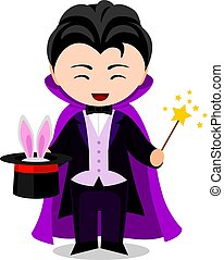 Cartoon illusionist. Cute little kid in costume. Vector flat...