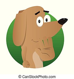Cartoon illustrated dog showing deny or refuse hand gesture.
