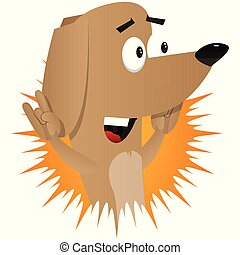 Cartoon illustrated dog with hands in rocker pose.