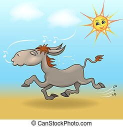cartoon illustration a donkey is running in the sand and sings from the sky watching the sun smiles