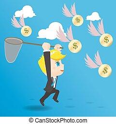 cartoon illustration businessman catching money