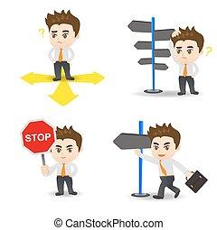 cartoon illustration Businessman choose directions