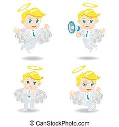 cartoon illustration Businessman positive thinking