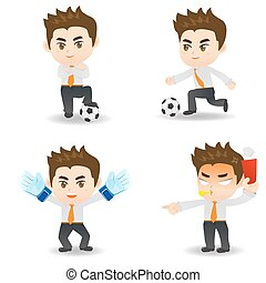 cartoon illustration Businessman with soccer