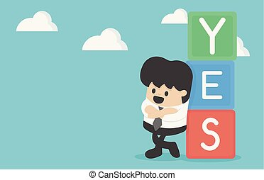 Cartoon illustration businessman with text YES