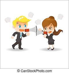 Cartoon illustration businesspeople arguing
