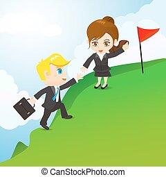 Cartoon illustration businesspeople teamwork