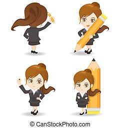 cartoon illustration Businesswoman write - cartoon...