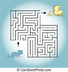 cartoon illustration depicting a mouse looking for a cheese in a maze. Vector graphics. Hand drawing