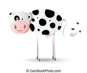 Cartoon illustration design of happy farm cow