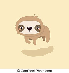 Cartoon illustration funny and cute sloth.