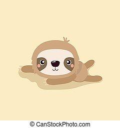 Cartoon illustration funny and cute sloth.