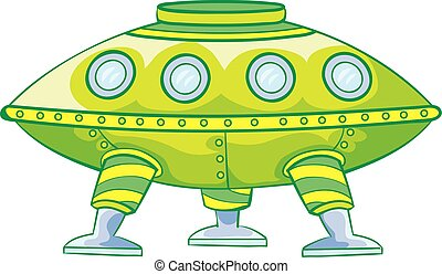 cartoon illustration, green flying saucer, isolated object on a white background, vector illustration,