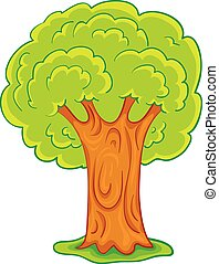 cartoon illustration, green tree with a powerful brown trunk, isolated object on a white background, vector illustration,