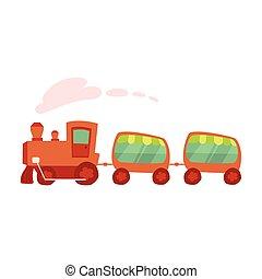 cartoon, illustration, i, amusement parker, tog, køre