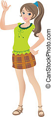 Cartoon illustration of a beautiful teenage girl with a ponytail waving and smiling.