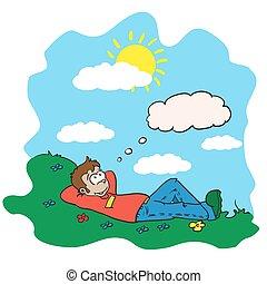 boy resting in a field - cartoon illustration of a boy...