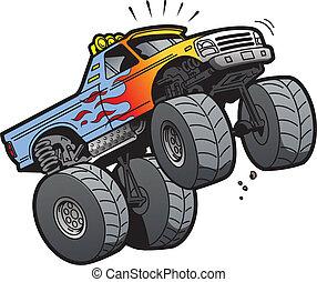 Monster Truck Jumping - Cartoon Illustration of a Cool...