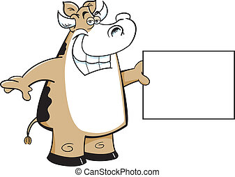 cow holding a sign