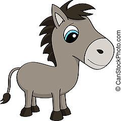Cartoon illustration of a donkey