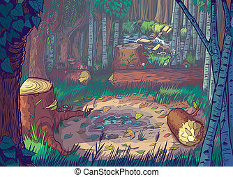 Cartoon Illustration of A Forest