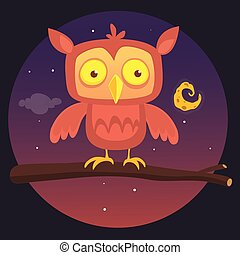 Cartoon illustration of a great horned owl on a branch silhouetting