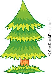 cartoon illustration of a green spruce with a brown trunk, isolated object on a white background, vector illustration,