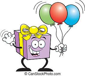 gift holding balloons