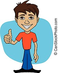 Cartoon illustration of a happy smiling man showing thumb up. EPS10.