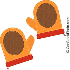 Cartoon illustration of a kitchen pot holders on white background. Element of kitchen