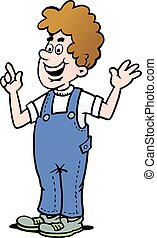 Cartoon illustration of a man who is dressed in a pair of blue overalls