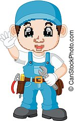Cartoon illustration of a mechanic