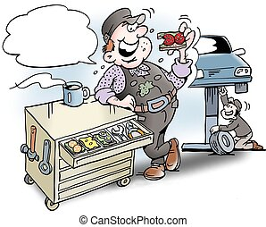 Cartoon illustration of a mechanic having lunch sandwiches in the tool cabinet