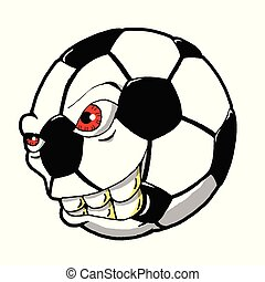 Cartoon Illustration of a Monster Soccer Ball Ready to Go