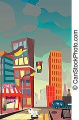 cartoon illustration of a night city