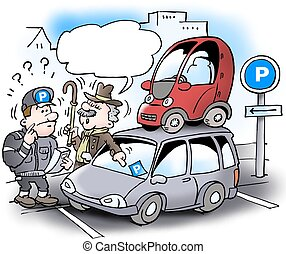 Cartoon illustration of a older stingy man who has parked ...