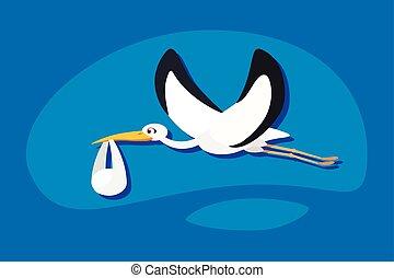 stork delivering a newborn baby