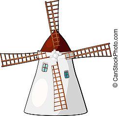Cartoon illustration of a windmill. eps10