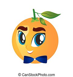 Cartoon Illustration of an Orange with a Happy face