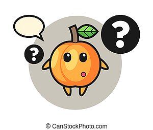 Cartoon illustration of apricot with the question mark