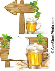 Beer wooden board sign - Cartoon illustration of Beer wooden...