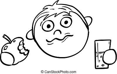 Cartoon Illustration of Boy Eating an Apple