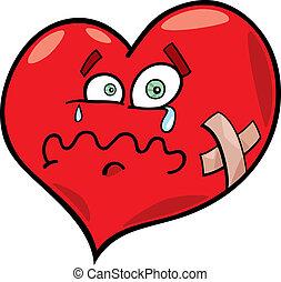 broken heart - cartoon illustration of broken heart