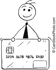 Cartoon Illustration of Business Man with Credit Debit Card...